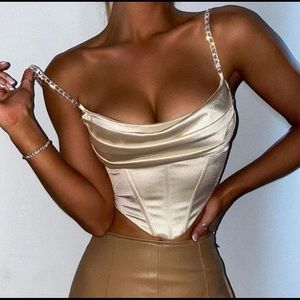 Sexy Crop Top, Sparkling Straps and Satin Material